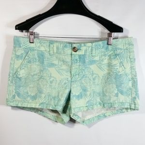 AE Stretch Shorts Green Turquoise Floral Hawaiian